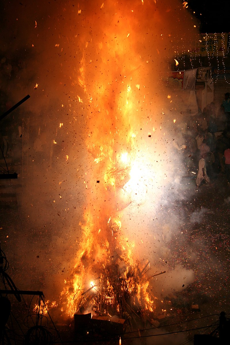Holika bonfire in front of Jagdish Temple in Udaipur, Rajasthan, 2010.